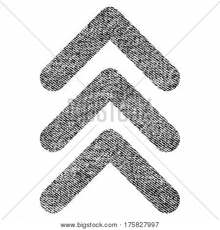 Triple Arrowhead Up vector textured icon for overlay watermark stamps. Black jeans fabric vectorized texture. Symbol with dust design. Black ink rubber seal stamp with fiber textile structure.