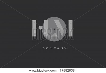Hl H L  Grey Modern Alphabet Company Letter Logo Icon