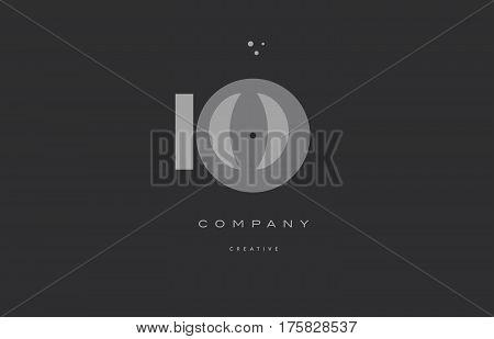 Io I O  Grey Modern Alphabet Company Letter Logo Icon