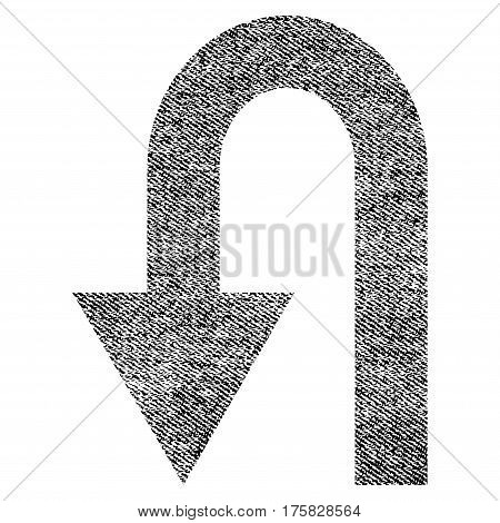 Turn Back vector textured icon for overlay watermark stamps. Black jeans fabric vectorized texture. Symbol with unclean design. Black ink rubber seal stamp with fiber textile structure.