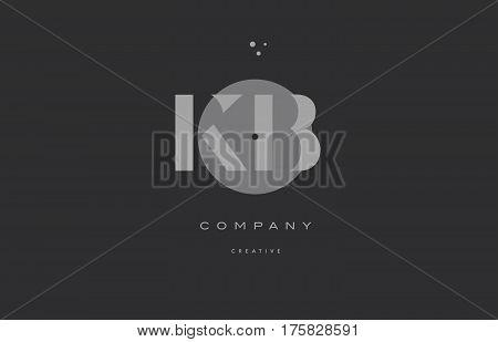 Kb K B  Grey Modern Alphabet Company Letter Logo Icon