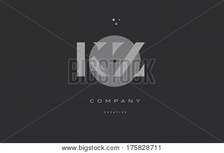 Kz K Z  Grey Modern Alphabet Company Letter Logo Icon