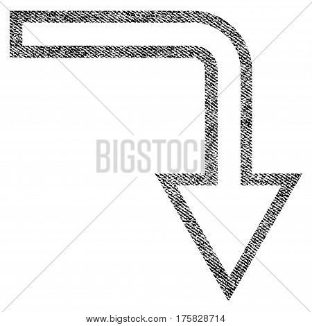 Turn Down vector textured icon for overlay watermark stamps. Black jeans fabric vectorized texture. Symbol with dirty design. Black ink rubber seal stamp with fiber textile structure.