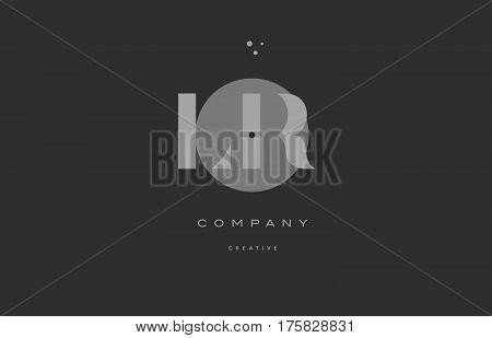 Lr L R  Grey Modern Alphabet Company Letter Logo Icon