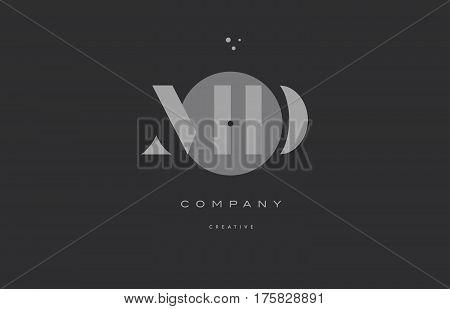 Md M D  Grey Modern Alphabet Company Letter Logo Icon