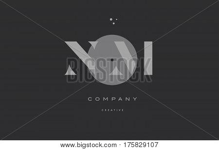 Nm N M  Grey Modern Alphabet Company Letter Logo Icon