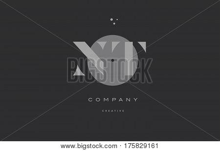 Nt N T  Grey Modern Alphabet Company Letter Logo Icon
