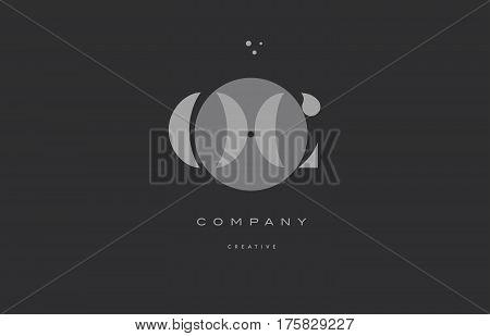 Oc O C  Grey Modern Alphabet Company Letter Logo Icon