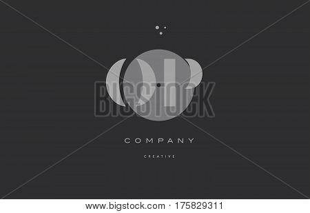 Op O P  Grey Modern Alphabet Company Letter Logo Icon