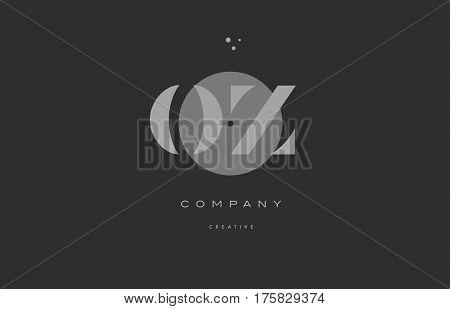 Oz O Z  Grey Modern Alphabet Company Letter Logo Icon