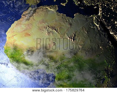 North Africa At Night On Realistic Model Of Earth