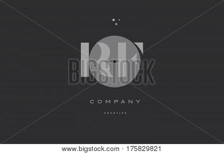 Rf R F  Grey Modern Alphabet Company Letter Logo Icon