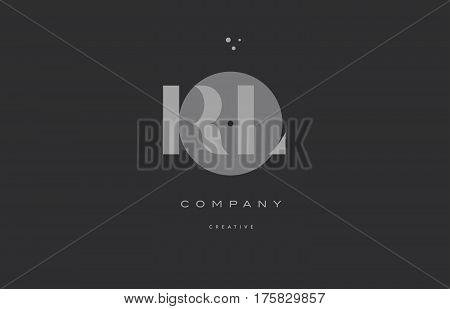 Rl R L  Grey Modern Alphabet Company Letter Logo Icon