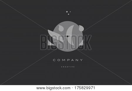 Sc S C  Grey Modern Alphabet Company Letter Logo Icon