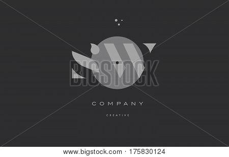 Sw S W  Grey Modern Alphabet Company Letter Logo Icon