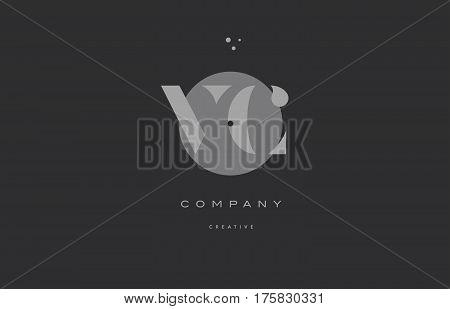 Vc V C  Grey Modern Alphabet Company Letter Logo Icon