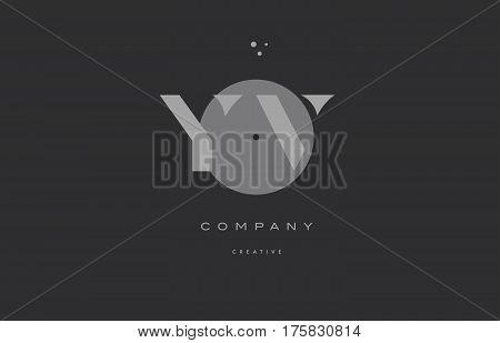 Yv Y V  Grey Modern Alphabet Company Letter Logo Icon