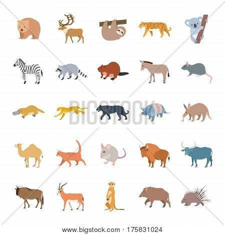 Mammals II color vector icons collection set