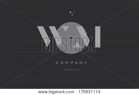 Wm W M  Grey Modern Alphabet Company Letter Logo Icon