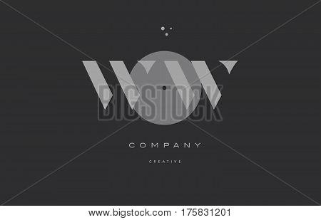 Ww W  Grey Modern Alphabet Company Letter Logo Icon