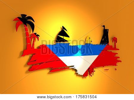 Vintage seaside view poster. Palm and safeguard tower on the beach. Yacht in the ocean. Silhouettes on grunge brush stroke. 3D rendering. Metallic glossy material. Antigua and Barbuda flag