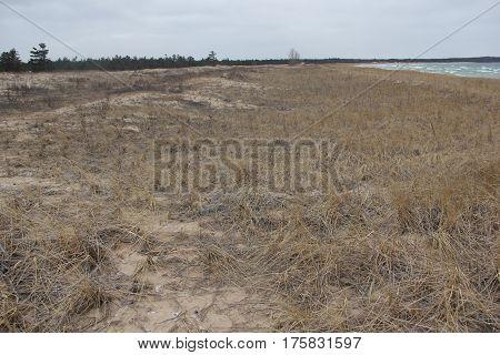 The dunes of Sleeping Bear Dunes National Lakeshore, Michigan, in winter