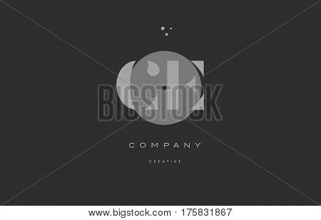 Ce C E  Grey Modern Alphabet Company Letter Logo Icon