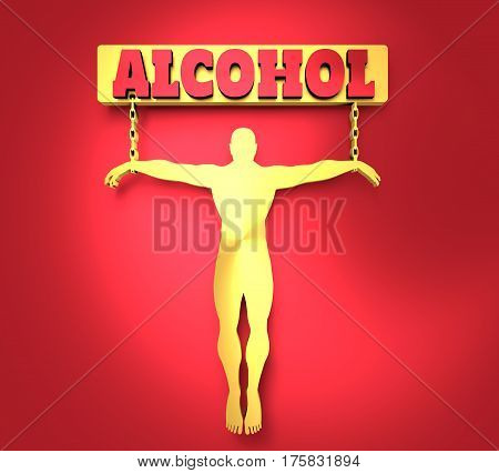 Man chained to alcohol word. Unhealth addiction metaphor. . Metallic Material. 3D rendering