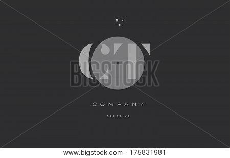 Ct C T  Grey Modern Alphabet Company Letter Logo Icon