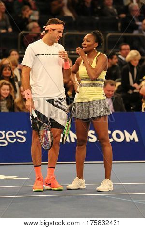 NEW YORK - MARCH 6, 2017: Grand Slam Champions Venus Williams of USA (L) and Juan Martin Del Potro of Argentina in action during  BNP Paribas Showdown 10th Anniversary at Madison Square Garden