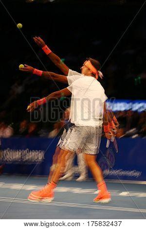 NEW YORK - MARCH 6, 2017: Grand Slam Champion Juan Martin Del Potro of Argentina in action during  BNP Paribas Showdown 10th Anniversary tennis event at Madison Square Garden in New York