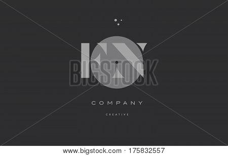 Fn F N  Grey Modern Alphabet Company Letter Logo Icon