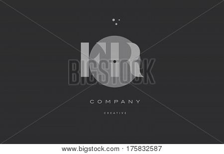 Fr F R  Grey Modern Alphabet Company Letter Logo Icon