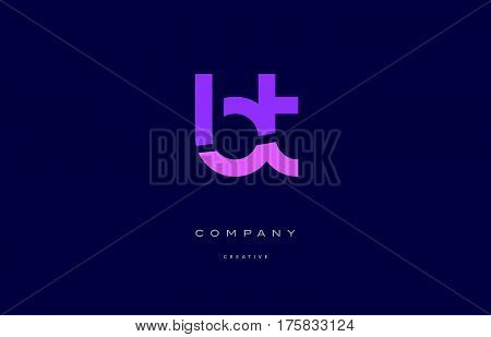 Bt B T  Pink Blue Alphabet Letter Logo Icon