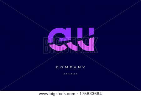 Ew E W  Pink Blue Alphabet Letter Logo Icon