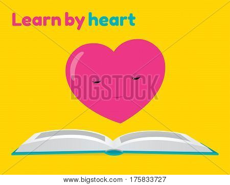Vector cartoon illustration of a heart character reading a book. Text