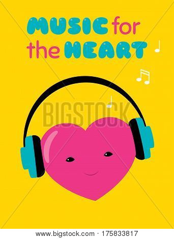 Vector cartoon illustration of a heart character with headphones. Text