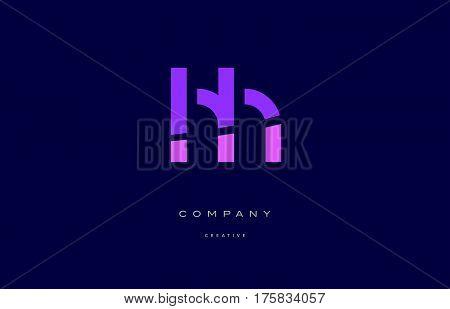 Hh H H  Pink Blue Alphabet Letter Logo Icon