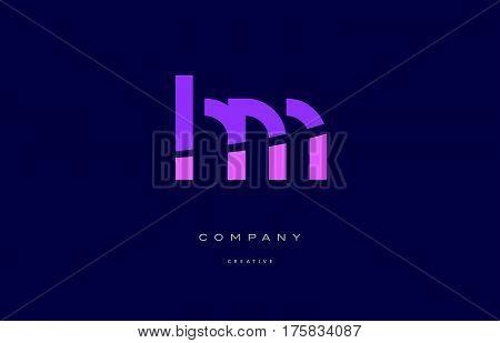 Hm H M  Pink Blue Alphabet Letter Logo Icon