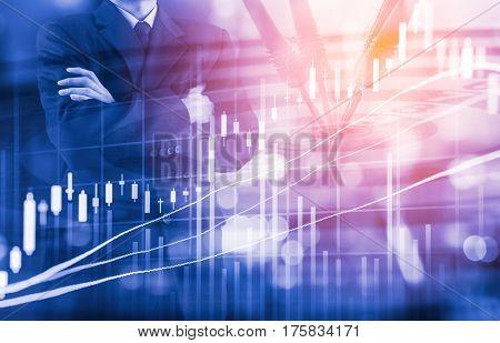 Business Man On Digital Stock Market Financial And Dart Background. Digital Business And Stock Marke