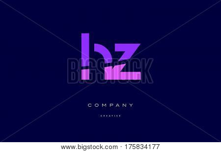 Hz H Z  Pink Blue Alphabet Letter Logo Icon
