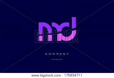 Md M D  Pink Blue Alphabet Letter Logo Icon