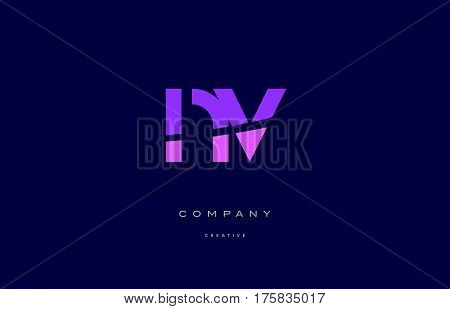Nv N V  Pink Blue Alphabet Letter Logo Icon