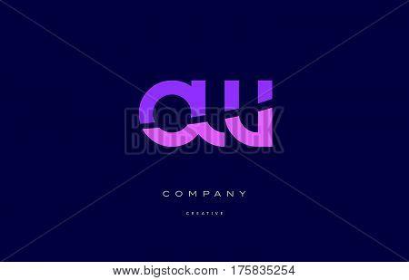 Ow O W  Pink Blue Alphabet Letter Logo Icon