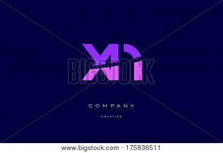 Xp X P  Pink Blue Alphabet Letter Logo Icon