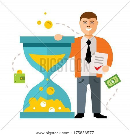 Businessman with a contract worth close to the hourglass. Isolated on a white background