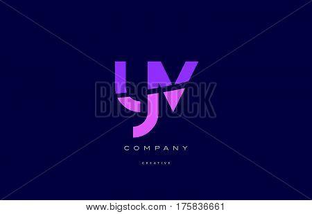 Yv Y V  Pink Blue Alphabet Letter Logo Icon