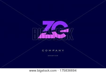 Ze Z E  Pink Blue Alphabet Letter Logo Icon