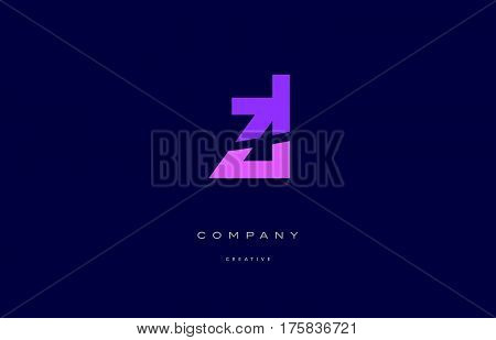 Zl Z L  Pink Blue Alphabet Letter Logo Icon