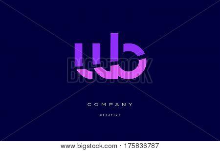 Wb W B  Pink Blue Alphabet Letter Logo Icon